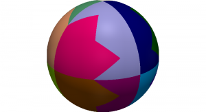 Domain decomposition of a sphere into 16 parts